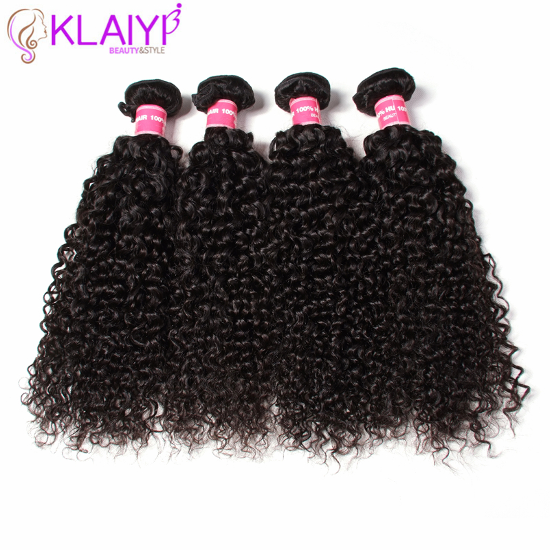 Klaiyi Hair Remy Hair Bundles 4 PCS Brazilian Curly Hair Weaves 100% Human Hair Extension Natural Black Color Free Shipping