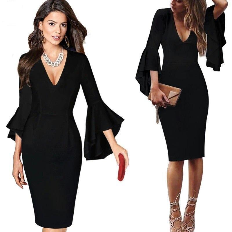Сексуальные коктейльные платья с v-образным вырезом, Короткие вечерние платья с длинным рукавом, платье длиной до колена, коктейльное повседневное облегающее платье с оборками - Цвет: Black