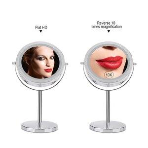 Image 2 - 10X مكبرة مرآة تجميل مع لمبة ليد مصباح ليد 360 درجة دوران مزدوج الوجهين سطح مكتب معدني التجميل الغرور لهدية عيد الحب