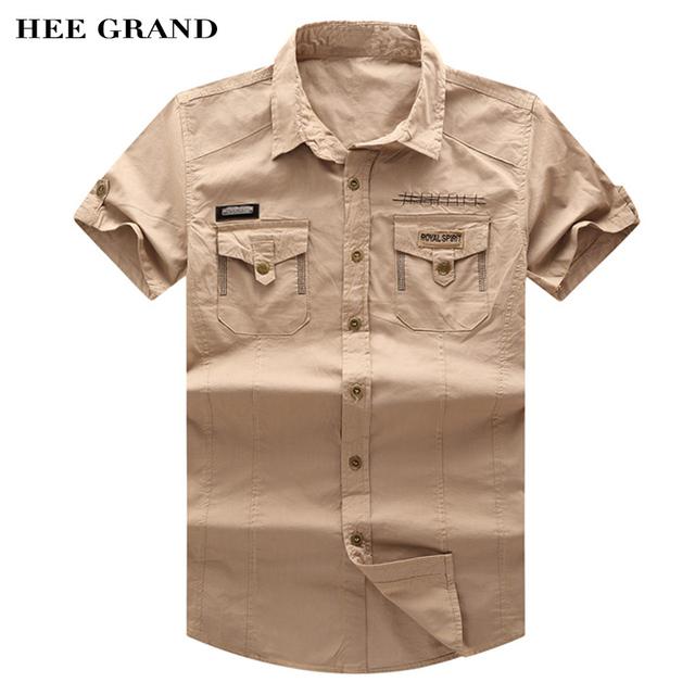 Hee grand 2017 chegada nova primavera verão estilo europeu de manga curta camisas casual camisas de lavar roupa ao ar livre do exército mcs477