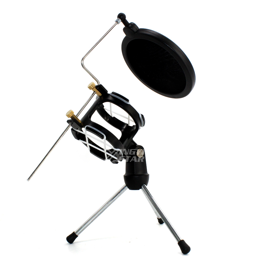 Desktop Recording Microphone Stand Tripod Wind Screen Pop Filter Mic Holder For Shock Mount Isolation Shield Spider Clamp Shockmount In From Consumer