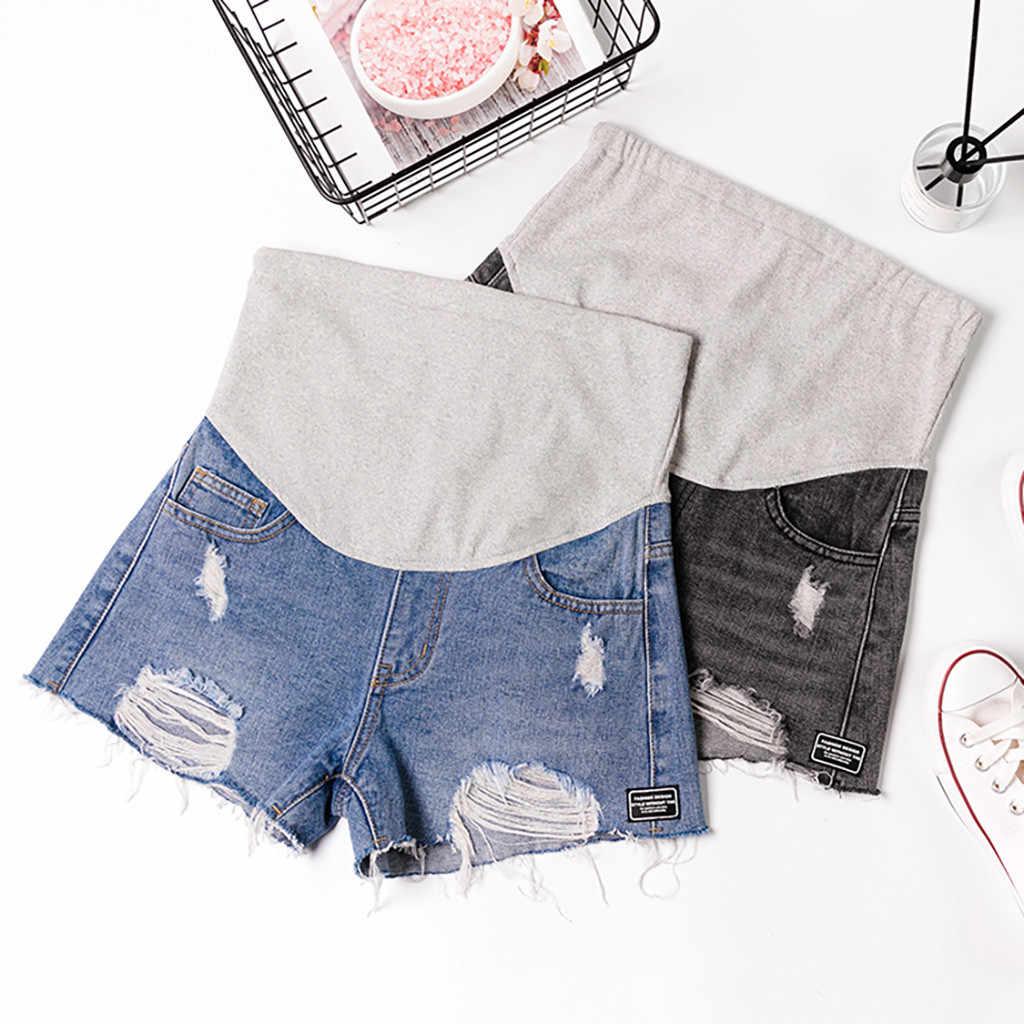 Dżinsy dla kobiet w ciąży w lato brzuch spodnie do karmienia spodenki jeansowe zgrywanie spodnie do karmienia odzież ciążowa Plus rozmiar 19May20