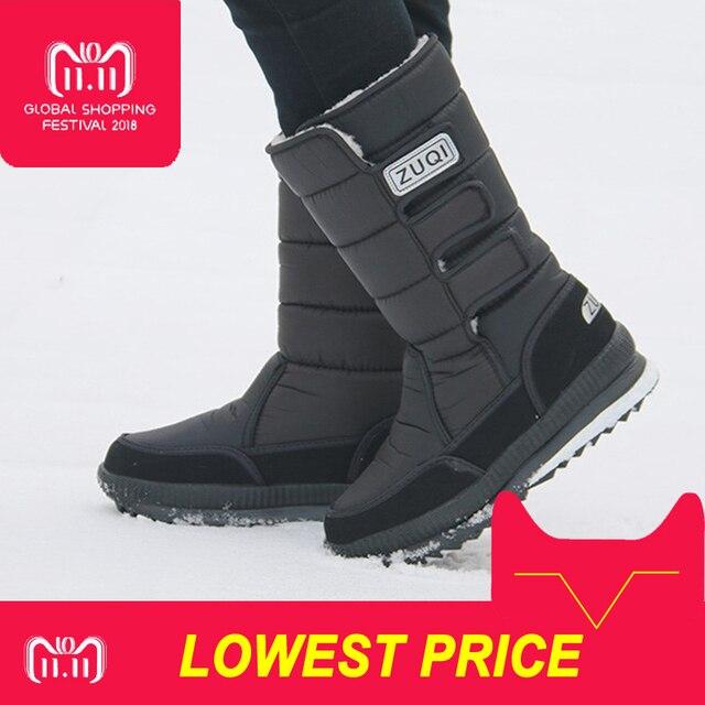 2018 Mężczyźni Buty platformy buty śniegowe dla mężczyzn grube pluszowe wodoodporne antypoślizgowe buty zimowe Plus size 36- 47