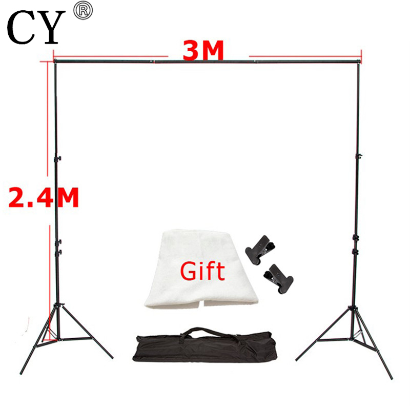 CY Photo Background 3M x2.4M Photo Studio Aluminum Photography Backgrounds Backdrop Support System Stands with Free Backdrop x 1 ashanks 8 5ft 10ft background stand pro photography video photo backdrop support system for fotografia studio with carrying bag
