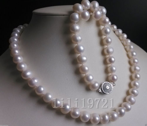 New 9 10MM White Freshwater Cultured Pearl Necklace Bracelet Earrings Set >bead charm body jewelry charm jewelry  set-in Jewelry Sets from Jewelry & Accessories    1