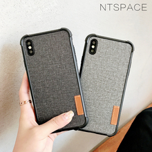 Retro Canvas Fabric Case for iPhone X Xs Max XR Fashion Cloth Silicone Shockproof Cover 8 7 Plus 6 6s Cases