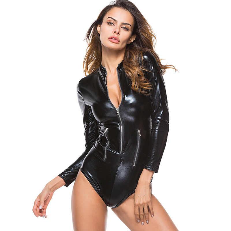 Body ผู้หญิงสีดำ Faux หนังบอดี้สูทแขนยาวด้านหน้าซิปเซ็กซี่ Latex Wetlook Catsuit สุภาพสตรี Clubwear พลัสขนาด 3XL