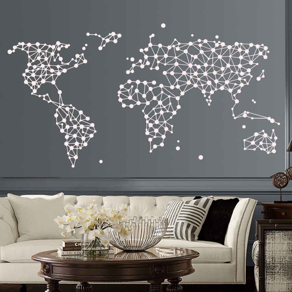 Us 711 15 Offnew Geometry World Map Vinyl Mural Stickers For House Living Room Office Decoration Bedroom Decor Wallpaper Wall Sticker In Wall