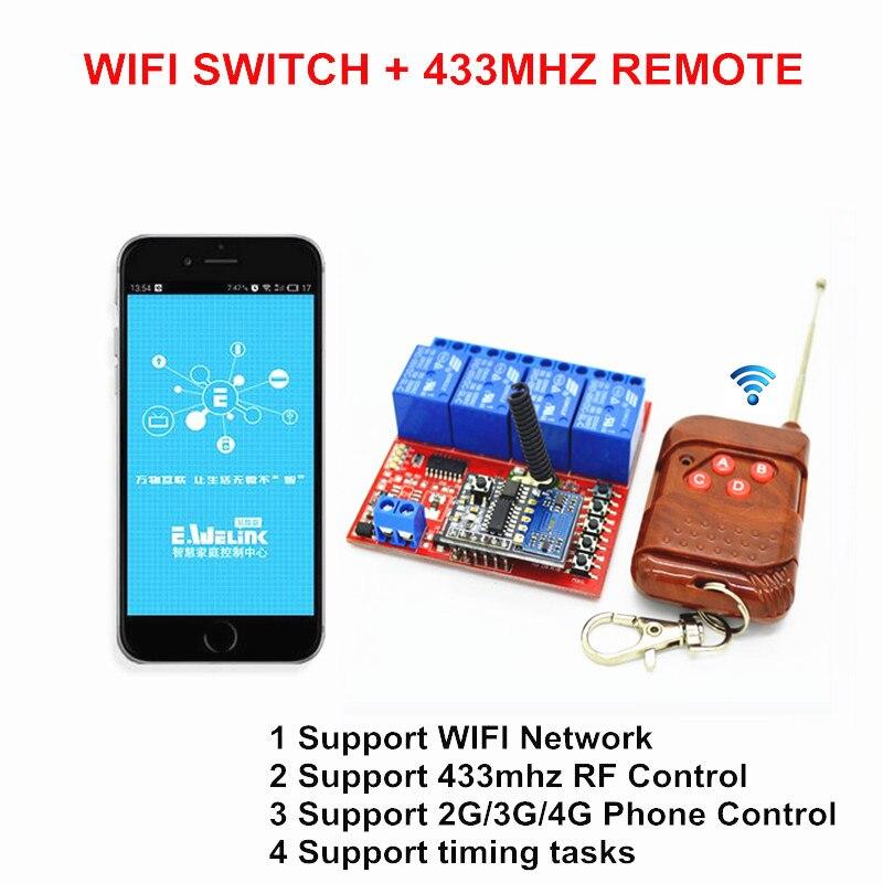 Brand New 5V DC 4 WAY WIFI Switches, 433.92mhz Wireless RF Remote ...