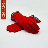 CNTANG Brand Autumn Winter Lattice Wool Gloves For Women Fashion Vintage Designer Warm Gloves Mittens Female