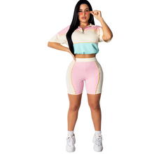 Summer new stitching contrast color jumpsuit two-piece urban fashion casual one-piece shorts suit