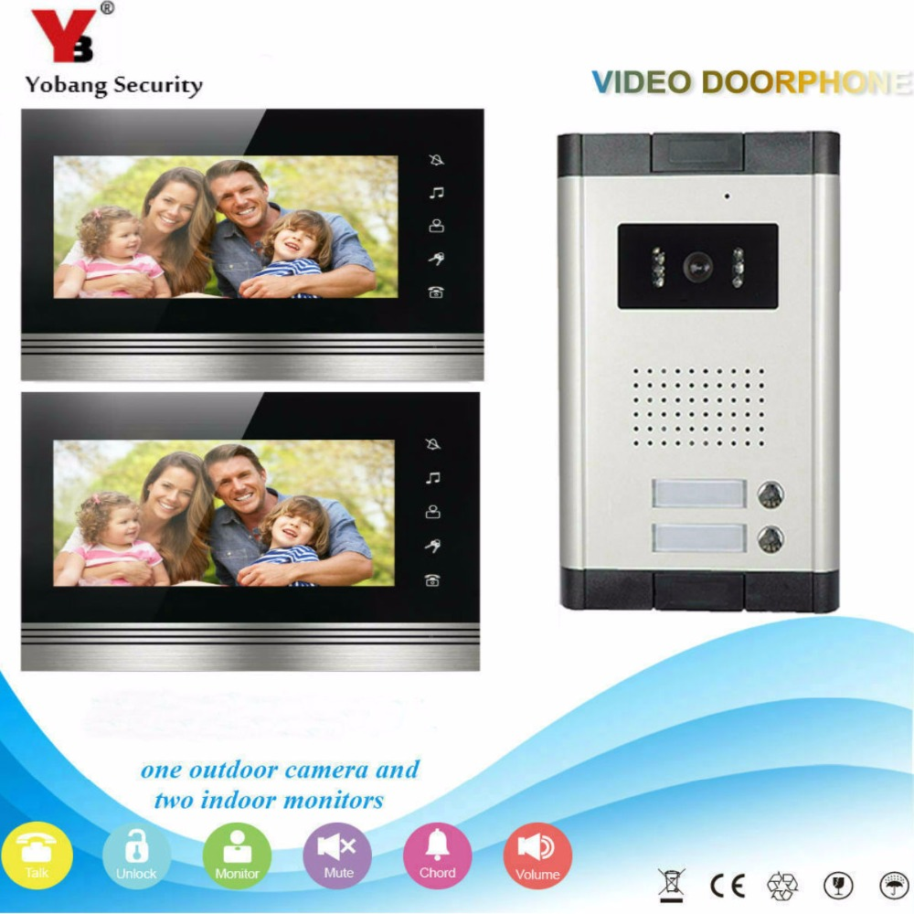 Yobang Security DHL Free Shipping New Apartment Intercom 7`` LCD Video Door Phone Doorbell Intercom System For 2 House 1V2