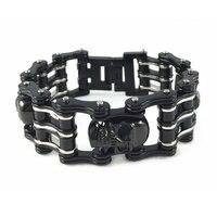 26mm Width 130g Genuine 316L Stainless Steel Black Plating Metal Bracelet Men S Fashion Skull Bracelets