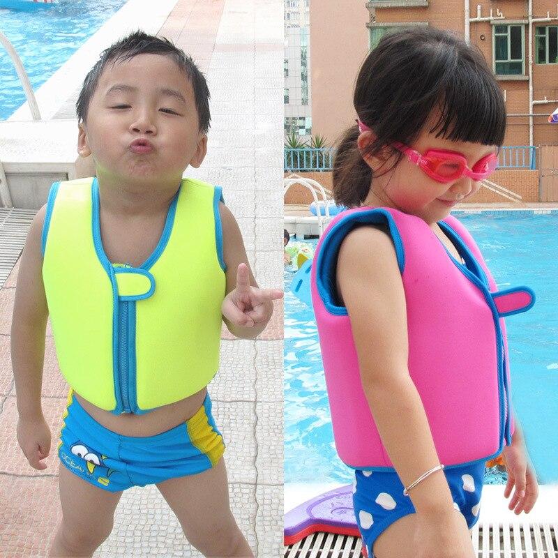 Kids Child Life Vest Swim Buoyancy Vest Solid Color