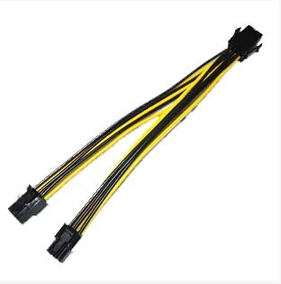 PC DIY Graphics Video Card PCI-E PCIe 6Pin to Dual 6Pin Power Supply SHORT Cable Cord 18AWG Wire 15cm