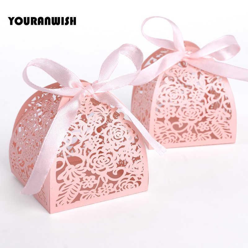 2019 Новый 50 шт./лот лента пирамиды лазерная резка, для свадьбы пользу шоколадные конфеты в подарочной упаковке коробка белого и розового цвета