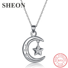 SHEON Genuine 100% 925 sterling silver Moon & Star Pendant Necklaces For Women Sterling Silver Jewelry Valentine Gift edell 100% 925 sterling silver bar pendant necklaces for men women genuine ribbon tiff necklace fashion jewelry gift