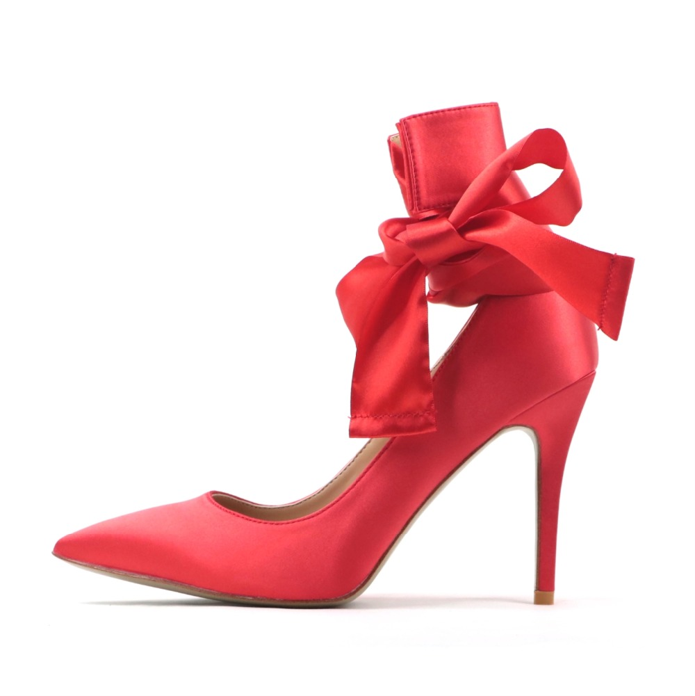 Free Shipping Women Dress Party Stiletto Pumps Fashion Pointed Toe Ankle  Lace-up Red Black eb3de9c06325
