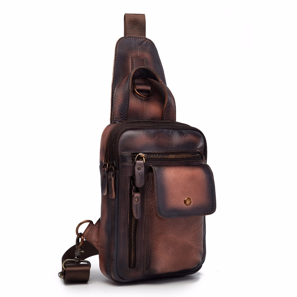 Quality Men Leather Fashion Sling Chest Bag Design Travel Triangle Cross body Bag Daypack 8 Tablet