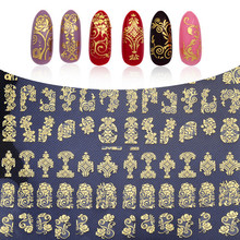 108pcs/sheet Gold 3D Nail Art Stickers Decals Top Quality Metallic Flowers Mixed Designs Nail Tips Accessory Decoration Tool