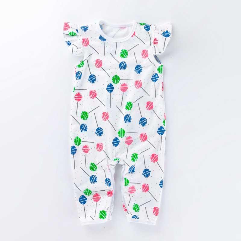 2019 Детский комбинезон без рукавов с круглым вырезом, летний детский комбинезон с рукавами-крылышками, хлопковая одежда для новорожденных с принтом мороженого