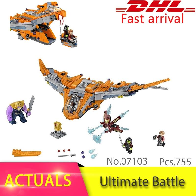 Lepin 07103 755pcs Super Heroes Series Thanos: Ultimate Battle Set Model Building Block Brick Toys Boy's Gift compatible 76107 игра непохожие жучки 755