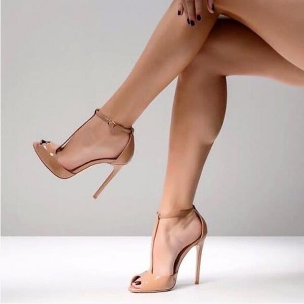 Personalizado cuero color carne T Correa tacones altos bombas 12CM Peep Toe tobillo Correa recortada bombas mujeres zapatos t bar zapatos de banquete