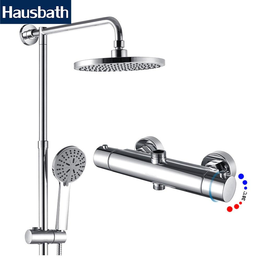 Bathroom Mixer Shower Set Thermostatic Temperature Control Shower Faucet Tropic Rain Shower Hand Shower Head