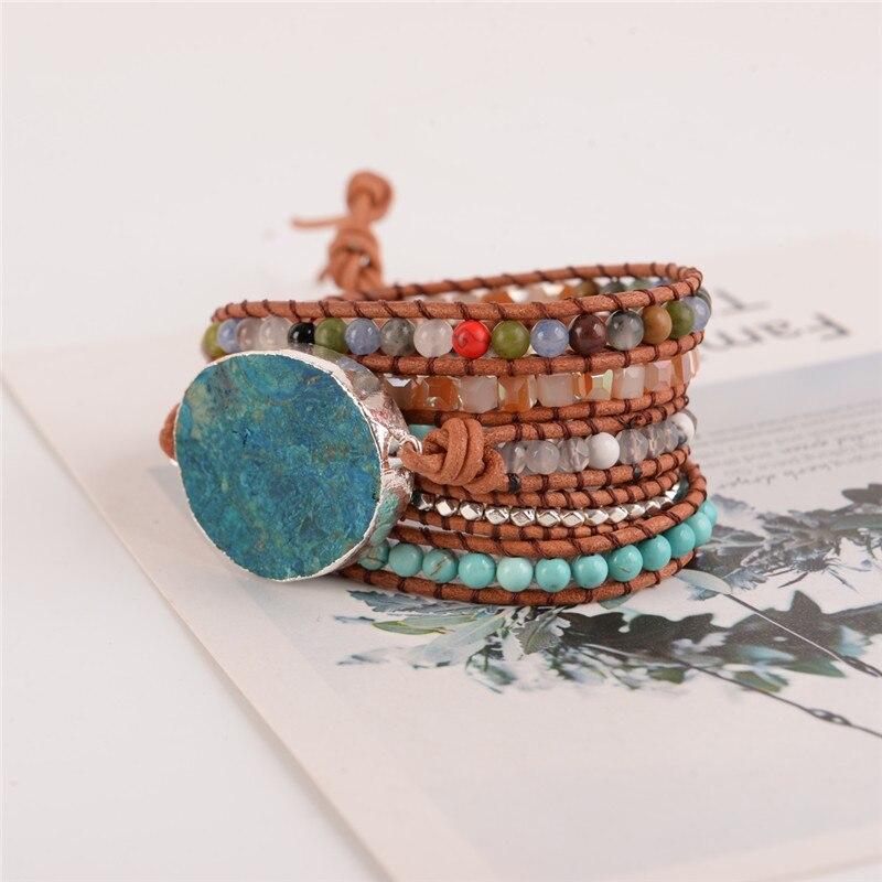 Dernière 2018-5X Gainé de Cuir Perlé Bracelet Énorme OceanStone Bracelet, Boho Chic Bijoux, bohème Bracelet Cadeau de Saint-Valentin!