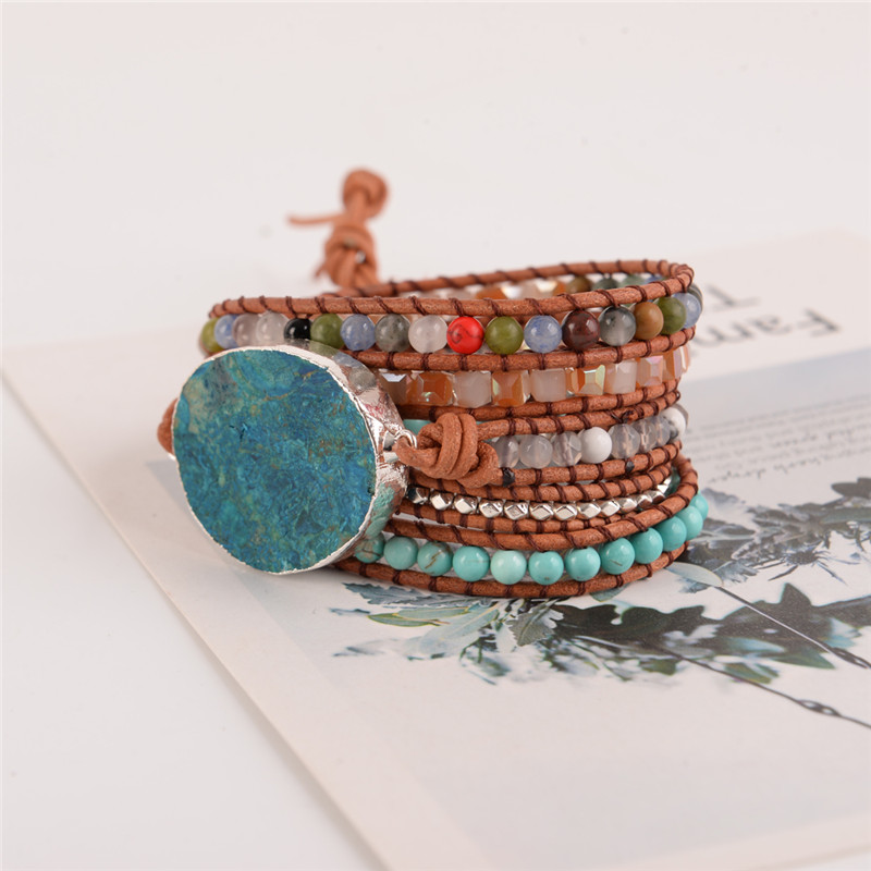 Latest 2018 5X Leather Wrap Beaded Bracelet Huge OceanStone Bracelet Boho Chic Jewelry Bohemian Bracelet Valentine