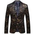 2016 New Arrival Homens Blazer Preto Moda Slim Feminina Ouro listrado Impresso Blazer Terno Jaqueta Casual Terno de Dois Botões Casaco Xxxl