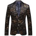 2016 Nueva Llegada Hombres de la Manera Cabidas Delgadas Blazer Negro Oro Striped Impreso Blazer Chaqueta de Traje Informal Traje de Dos Botones Escudo Xxxl