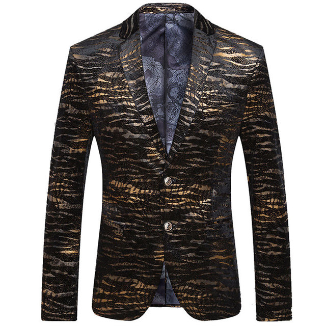 2017 New Arrival Black Blazer Men Fashion Slim Fitted Gold Striped ...