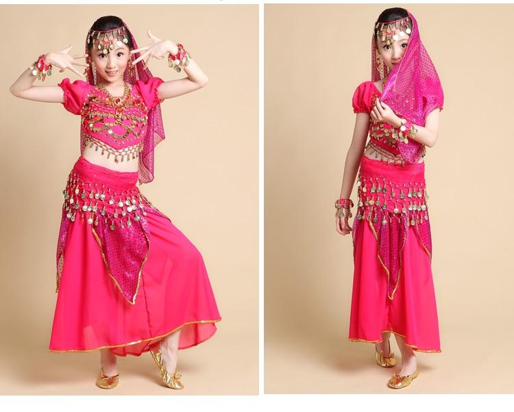 Child belly dance kids indian dance female child short-sleeve costume skirt Top&Skirt&Belt&Headband&Bracelet 3 colors S/M/L Платье