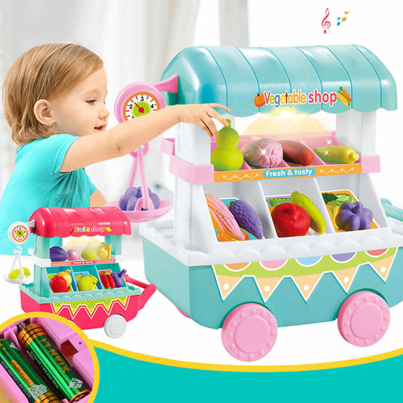 MrY Shopping Cart Toy Simulation Mini Food Vegetable Fruit Shop Trolley Cart with LED Light Music Pretend Play Groceries Toys