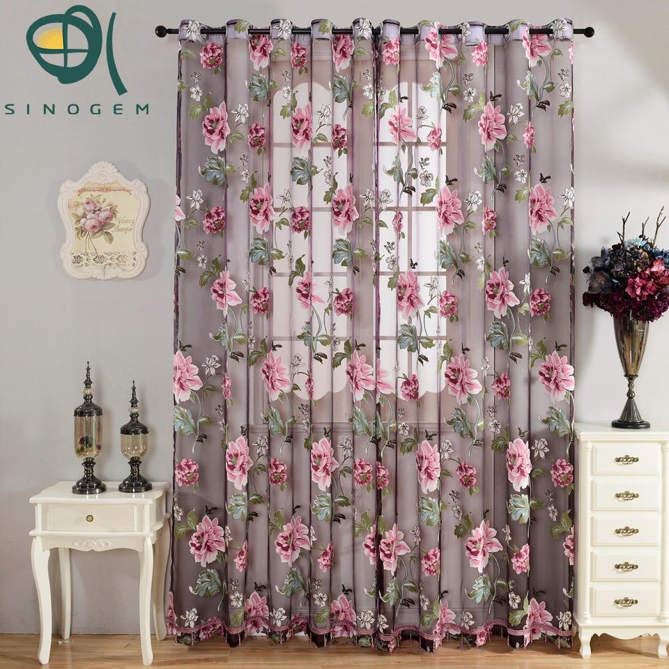 Buy Sinogem Floral Tulle Printrd Sheer