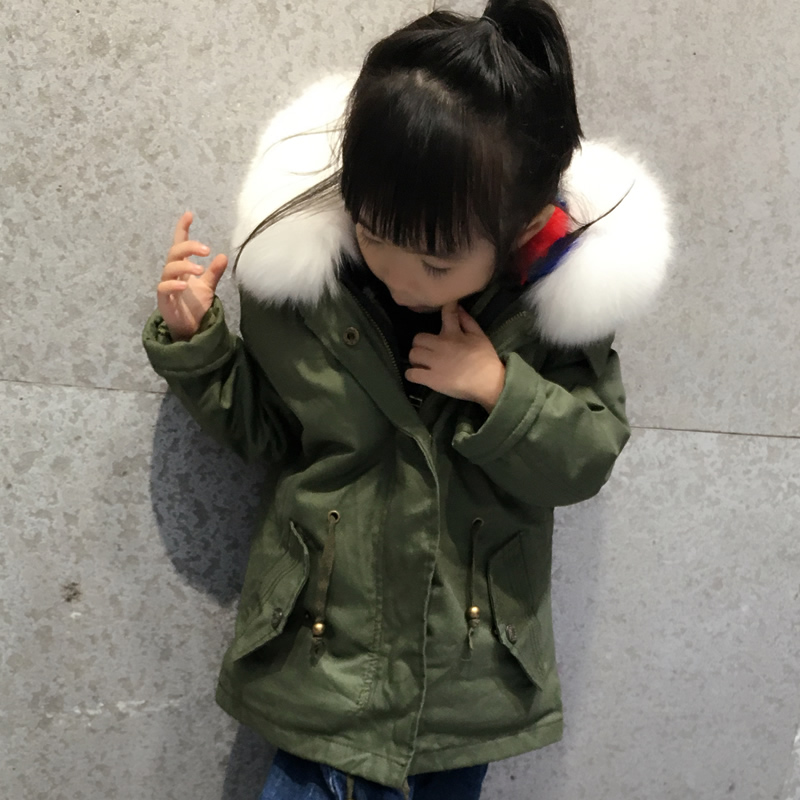 цена на JKP 2018 new Winter clothing new thickening coat mink liner children warm jacket fox fur hooded collar kids coats clothes CT-01