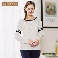 Qianxiu Couples pajama set female autumn&spring long sleeve Homewear suit pure cotton round neck large code women pajamas