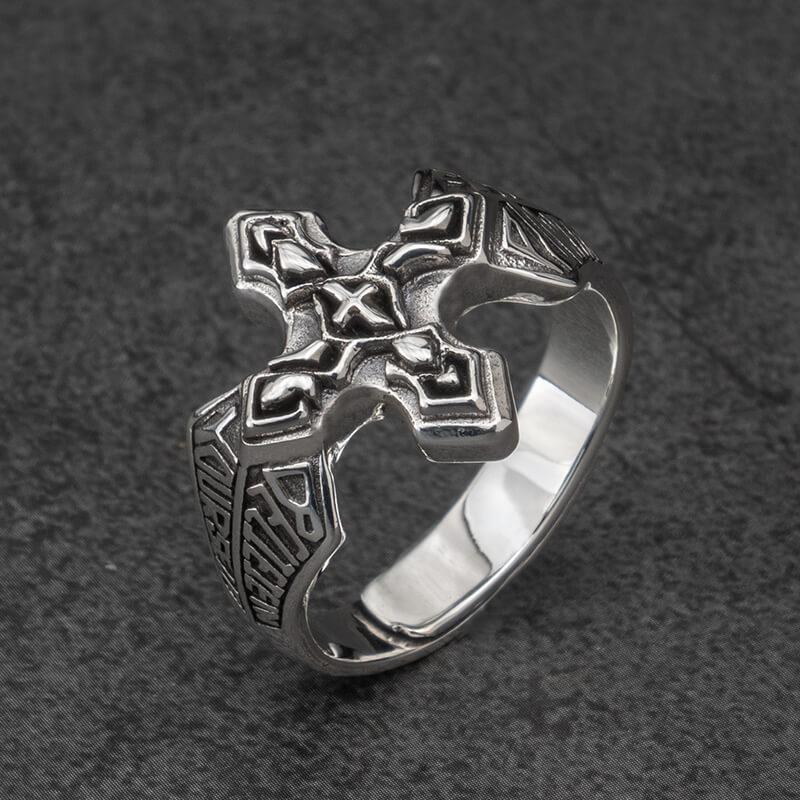 Bagues en argent croix pour homme bijoux de mode en argent Sterling Vintage