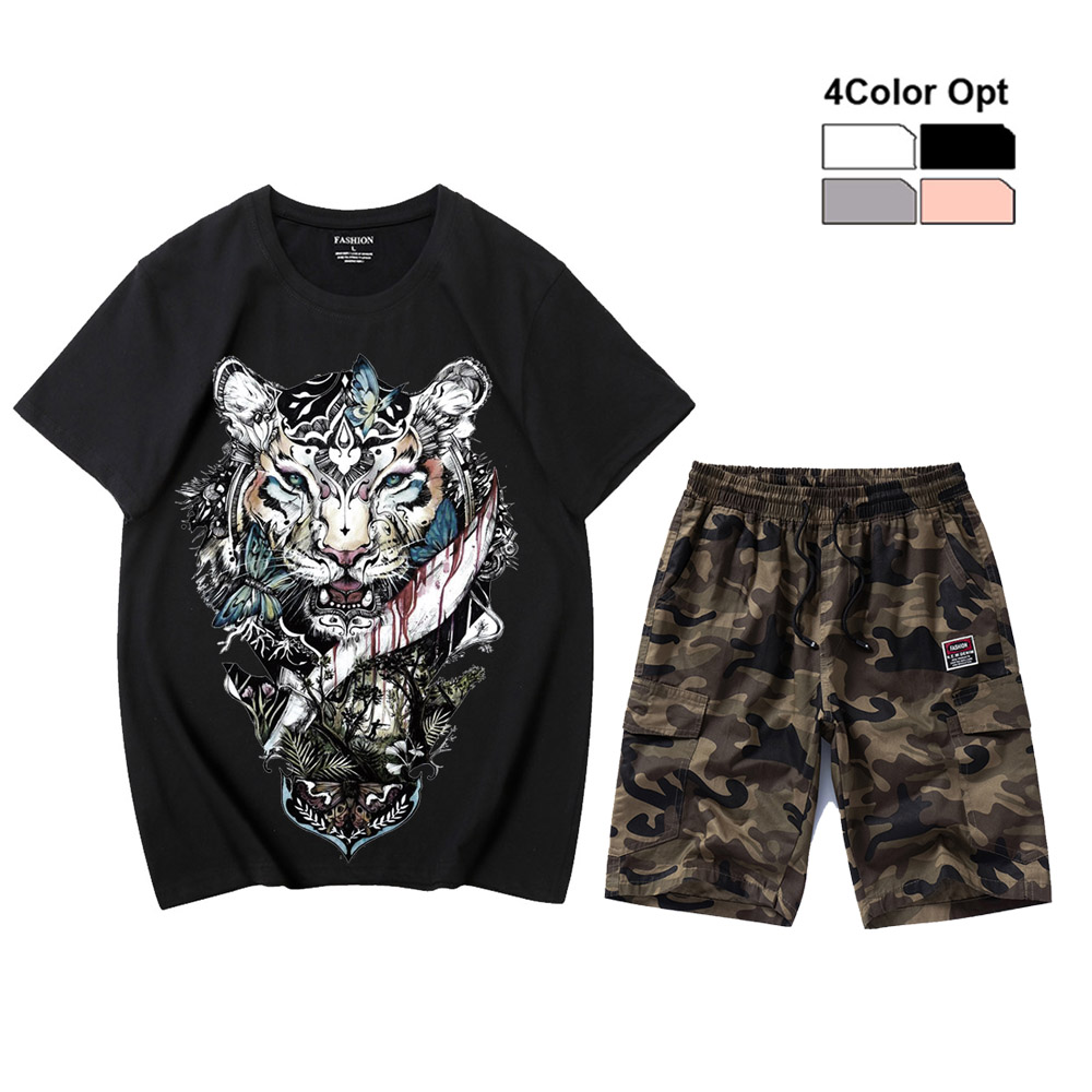Men T Shirt Set Loose Skate Jogging Tee Short Sleeves Top Camouflage Pants Trousers Tiger Blood Summer Wear Outdoor Suits