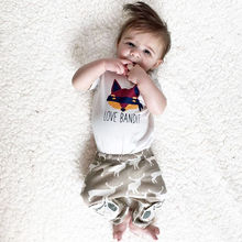 2016 summer baby boy clothes set cotton Fashion letters printed T-shirt+trousers 2pcs Infant clothes newborn baby clothing set