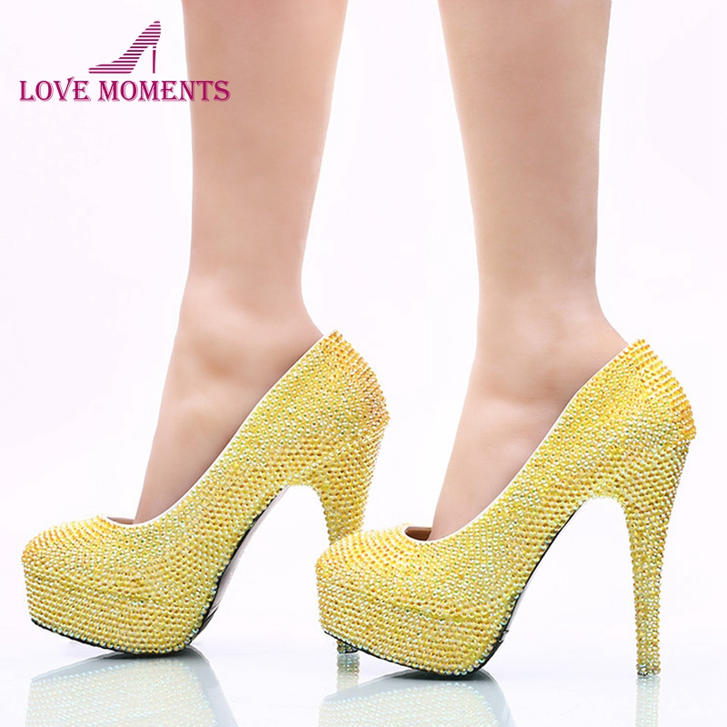 2018 New Arrived Yellow AB Color Rhinestone Wedding Party Shoes Handmade Bridal Dress Shoes Birthday Party High Heels Prom Pumps