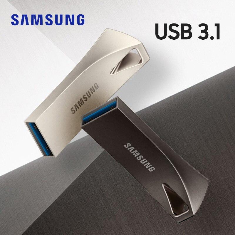 SAMSUNG BAR Plus 32g 64g pen drive USB Flash Drive 128g 256g de metal mini pendrive USB3.1 dispositivo de armazenamento memory stick disco de u