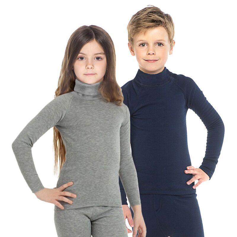 Enfants sous-vêtements thermiques col roulé blouse à manches longues moyen col haut doux chaud enfants longs Johns livraison gratuite 13002