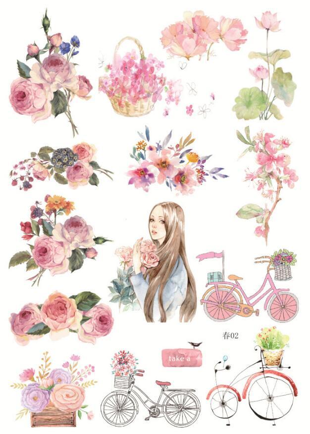 Uncut A5 Spring Season Decorative Sticker Set Diary Album Label Sticker DIY Scrapbooking Stationery Stickers Escolar