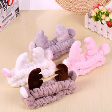 Women Cute Big Ears Antler Comfortable Wash Face Bathe Make Up  Hair Holder Elastic Headband Girls Hairbands Accessories