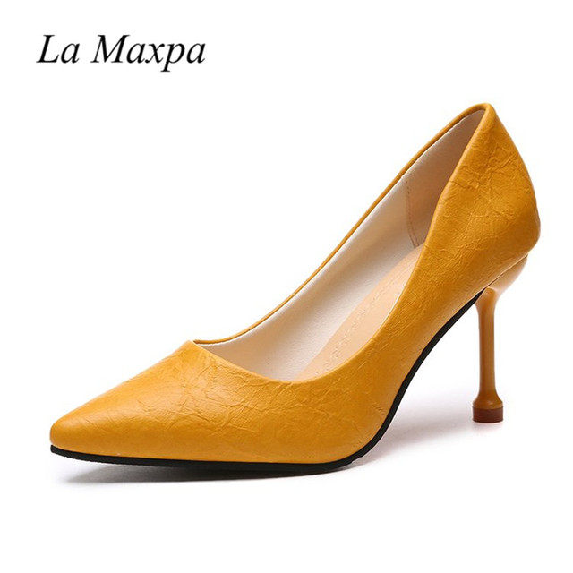 71c27b15098 Evening 4 34 Small Size Snake Pumps High Heels 2018 Women Shoes Yellow 9cm  Inch Scarpin Pointed Toe Adult Ceremony Pumps Classic
