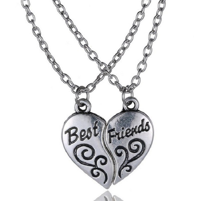 Velishy2pc Set Fashion Best Friend Friendship Heart Shaped