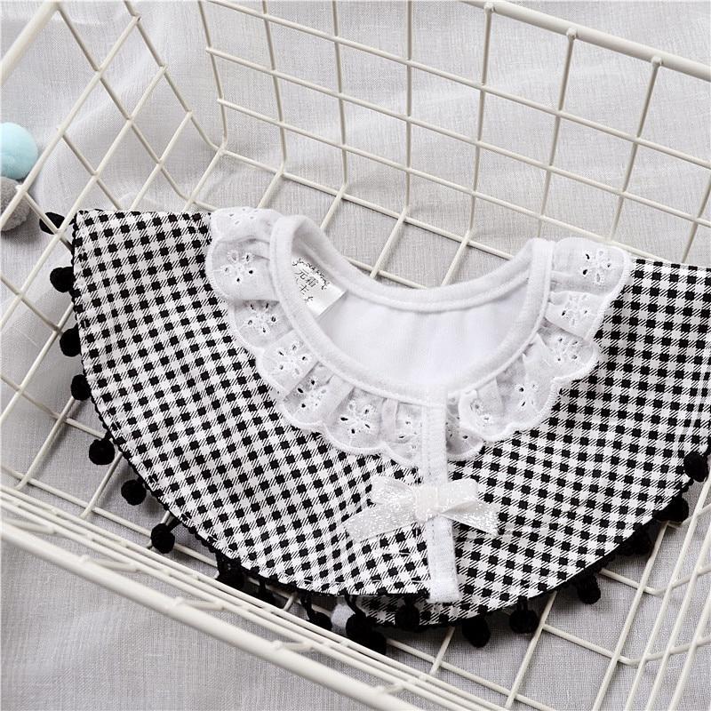 Nordic Style Infant Baby Eatting Bibs Plaid Black White Princess Lace Cotton Waterproof 360 Degree Round Bib (5)