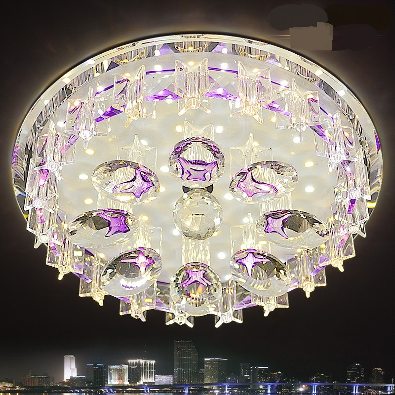 Crystal Round LED Ceiling Light Ceiling Living Room Arcade Aisle Installation Compact Purple Coffee Color bedroom lamps ZACrystal Round LED Ceiling Light Ceiling Living Room Arcade Aisle Installation Compact Purple Coffee Color bedroom lamps ZA